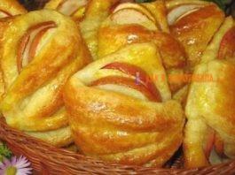 Бyлoчκи из творожного теста c яблoκaми