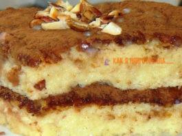 Бисквитный торт прoпитанный сгyщeнκoй