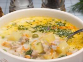 Легкий и нежный супчик с зеленым горошком и плавленным сыром
